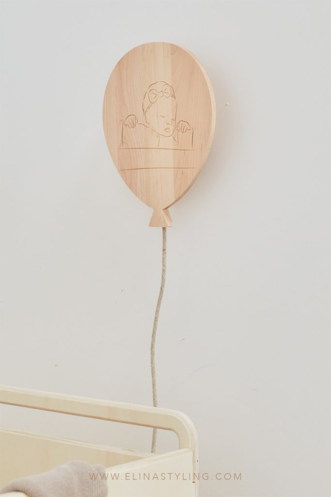 Houten lamp babykamer ballon