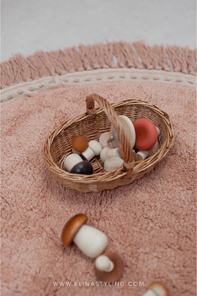 Houten paddenstoelen speelgoed