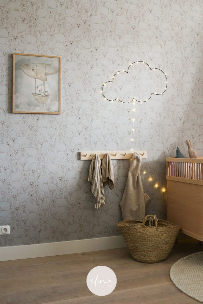 Babykamer jongen behang beertjes