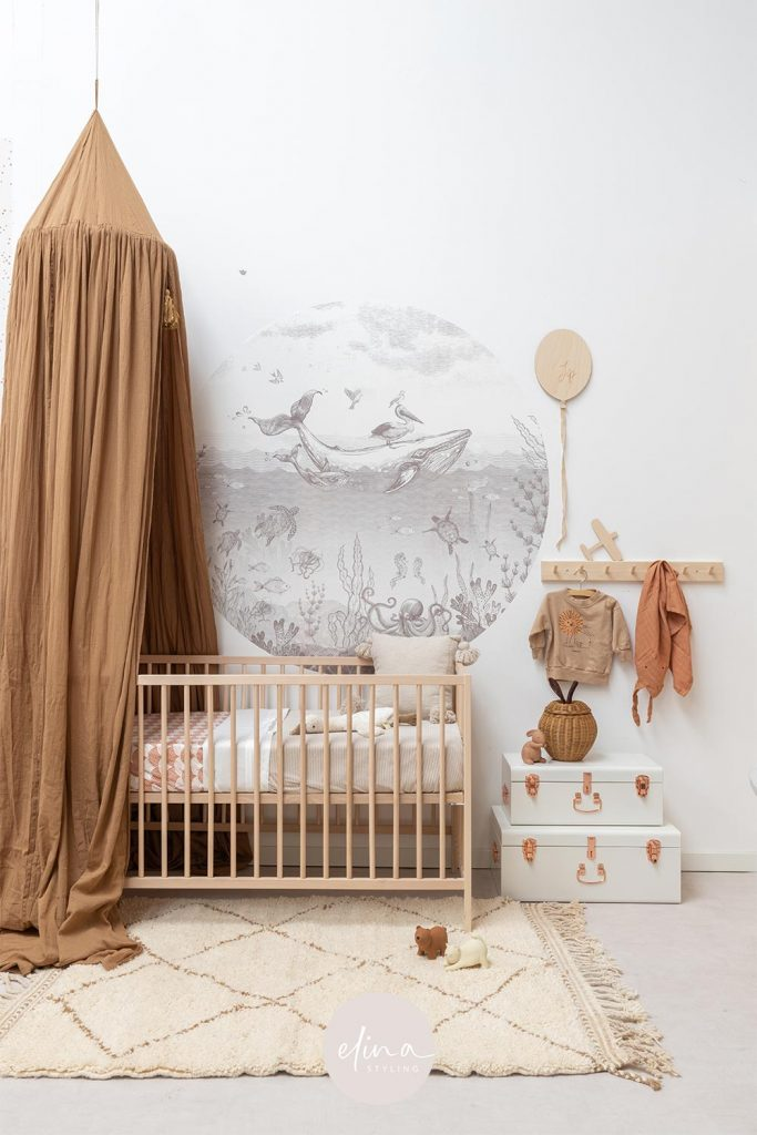 Babykamer jongen naturel pimpelmees behangcirkel
