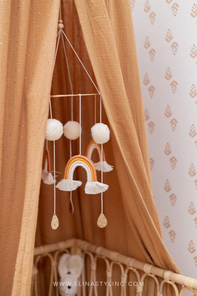Mobile baby regenboog pompons